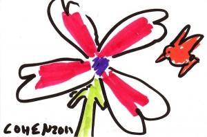 Orange Hummingbird and Flower