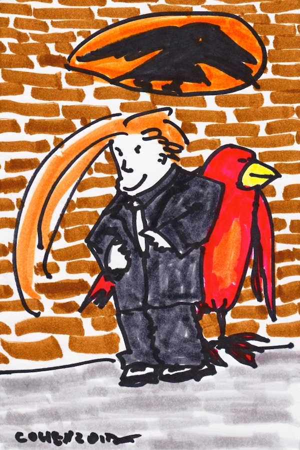 Goldbrick and the Boid - doodle no.1602 by David Cohen