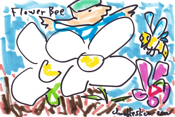 Flower Bee - doodle no. 1620 by Doodleslice, david cohen