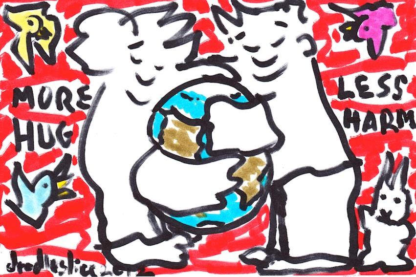More hug, less harm - doodle no.1642 by doodleslice David Cohen