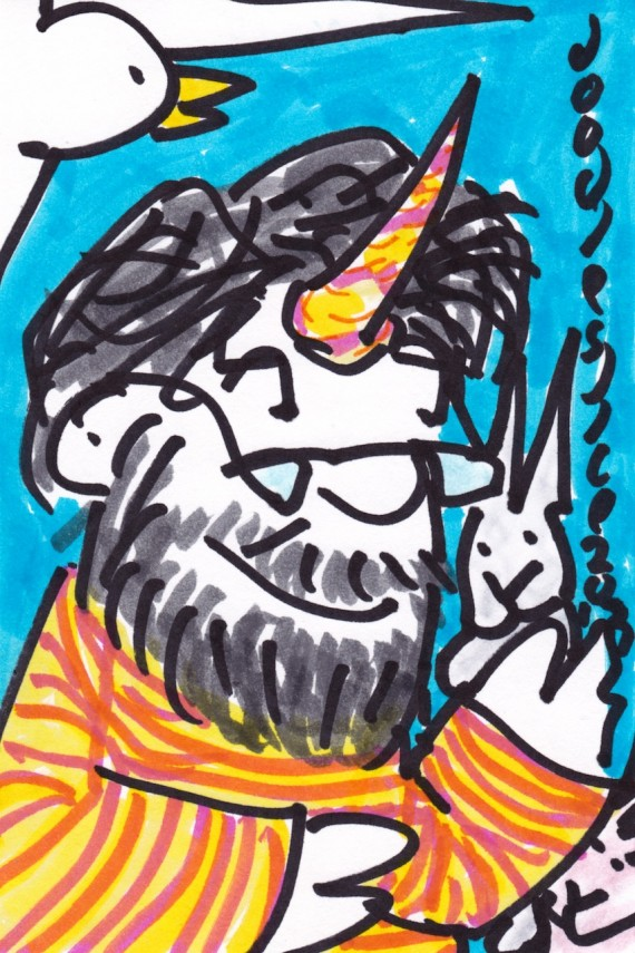 self-portrait as a young unicorn, doodle no. 1651 by doodleslice David Cohen