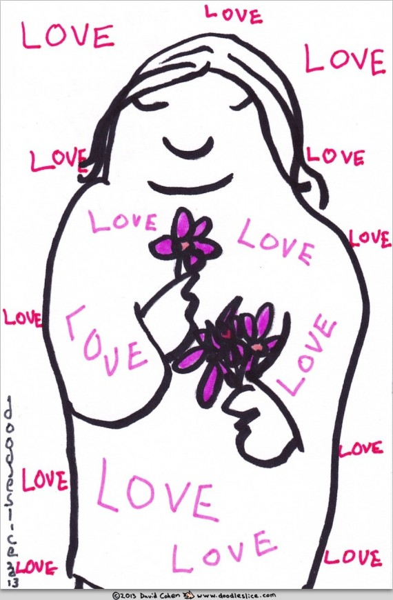 inside and out, surround yourself with love - doodle no. 1671 by doodleslice David Cohen