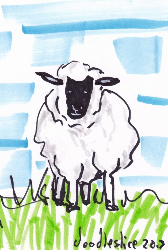 Sheep - doodle no.1692 by David Doodleslice Cohen