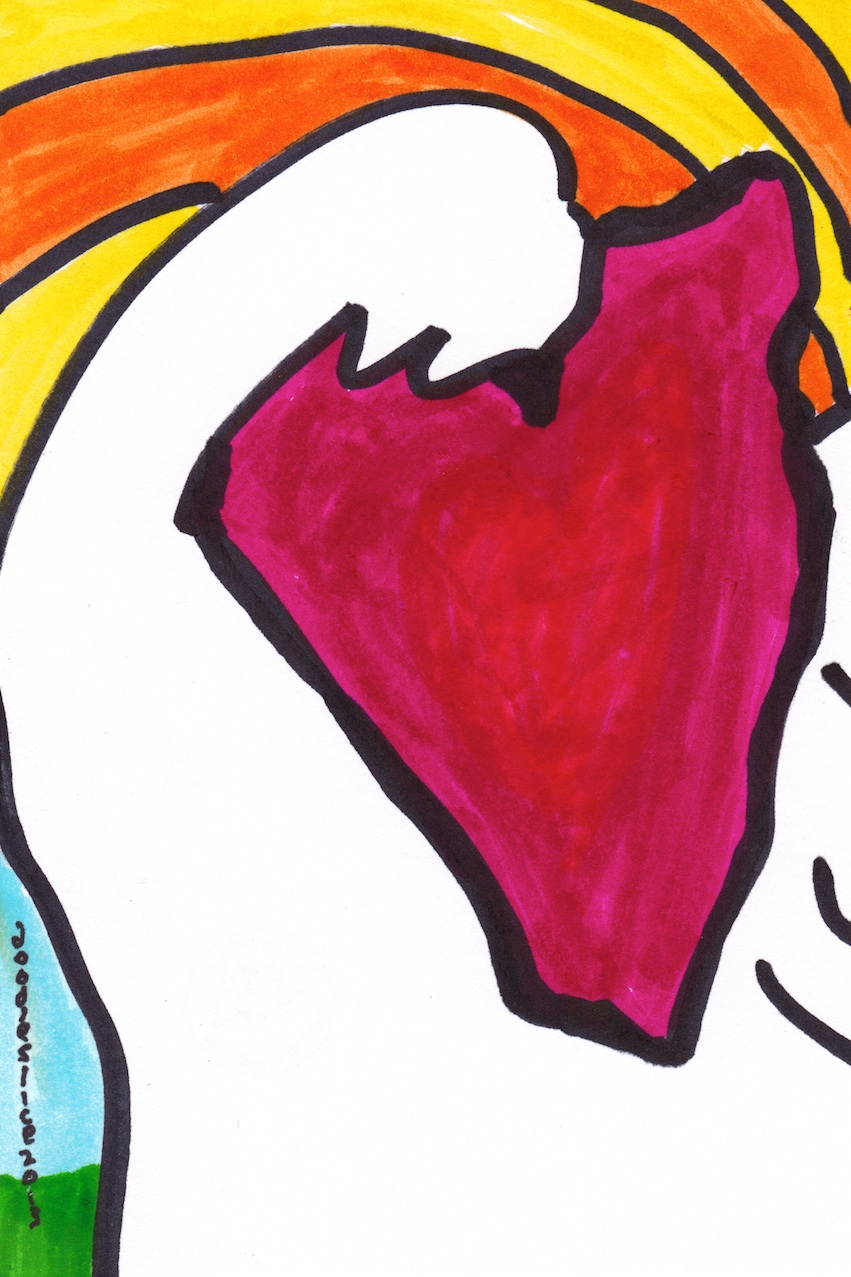 carries the jagged heart, doodle no.1705 by David Doodleslice Cohen