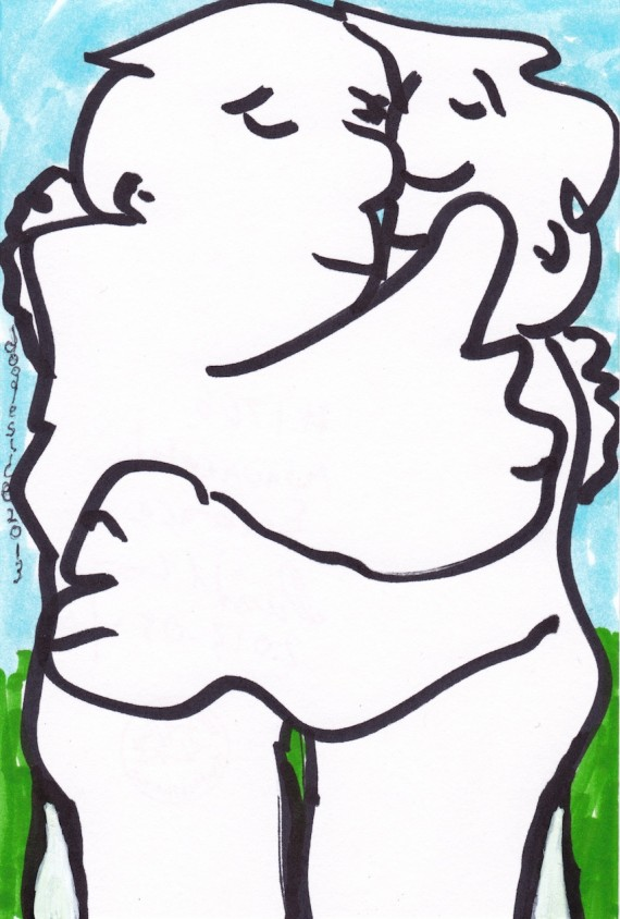 Monumental Embrace, doodle no. 1706 by David Doodleslice Cohen